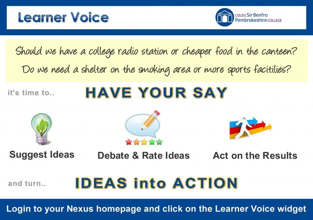 Learner Voice, Pembrokeshire College, turing Ideas into Action. VocalEyes