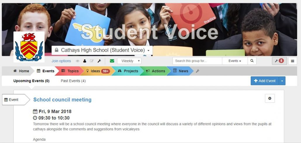 VocalEyes Events, Cathays Student Council meeting & meeting notes