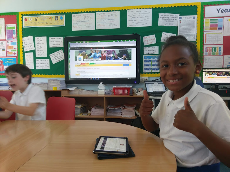 VocalEyes participatory democracy platform being used in Grange Primary School