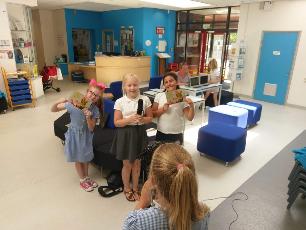 Student Council making a video about the launch of Parent Voice being launched at Burry Port Community Primary School using VocalEyes