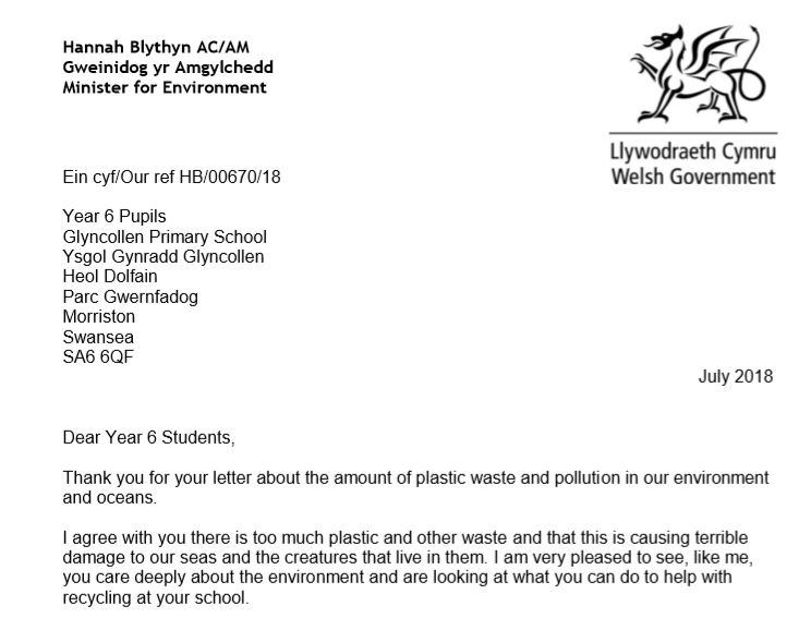 Response letter from Hannah Blythyn, Environment Minister for Welsh Government