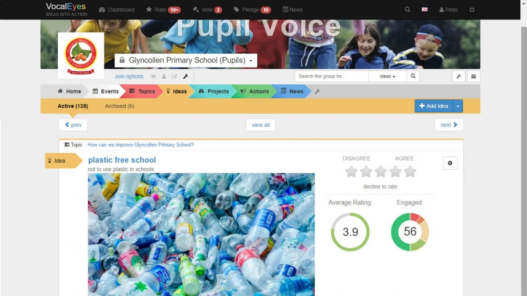 Glyncollen Primary School students prioritising Plastic Free School on VocalEyes