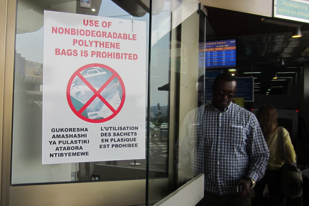 """Kigali airport. Sign reading, """"Use of non-biodegradable polythene bags is prohibited"""