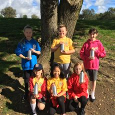 Glyncollen Primary school with their new stainless steel water bottles